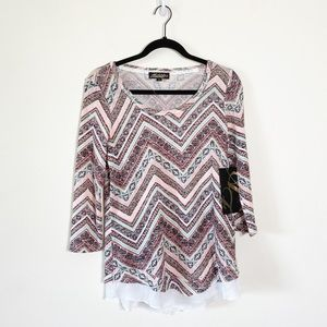 Absolutely Famous Sweater Tiered Chevron NEW